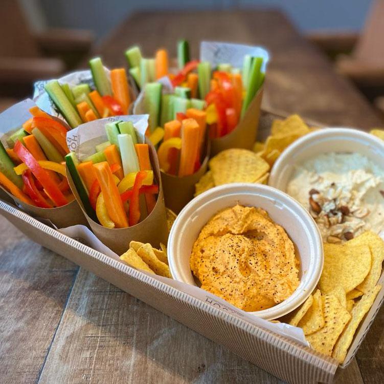 Crudités & Hummus – Selection of fresh crunchy vegetables, 2 types of hummus, tortilla crisps