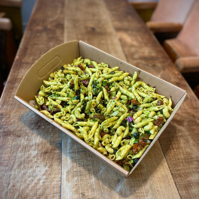 NEW! Pesto pasta, sun dried tomatoes, red onions & black olives